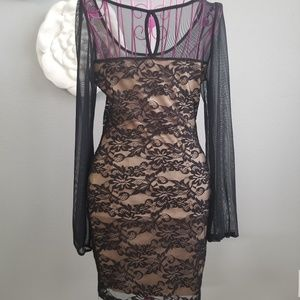 Love Culture Dresses - Sheer Lace Dress with Keyhole Back & Long Sleeves